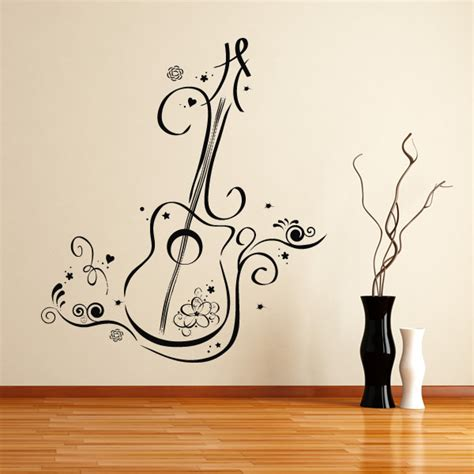Guitar Wall Stickers floral guitar wall art decals wall stickers transfers ebay