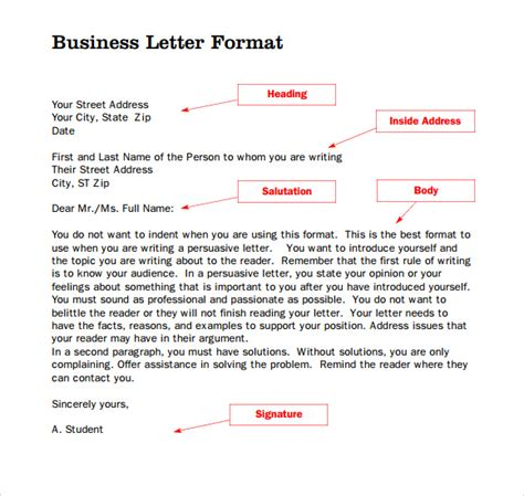 standard business letter template word standard business letter format 8 free