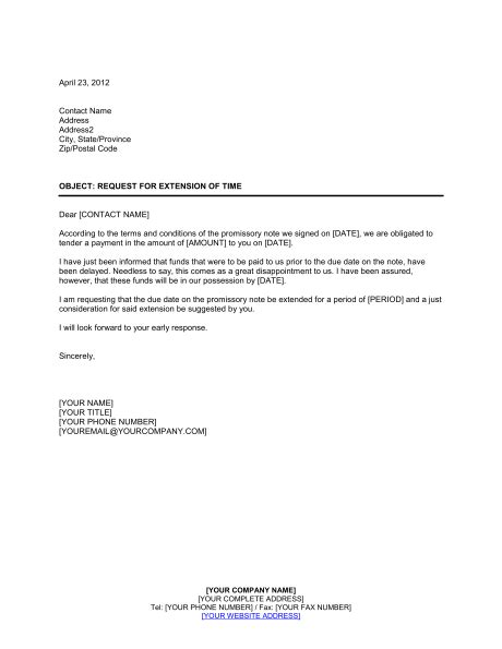 Extension Cover Letter by Request For Extension Of Time On Promissory Note Template Sle Form Biztree