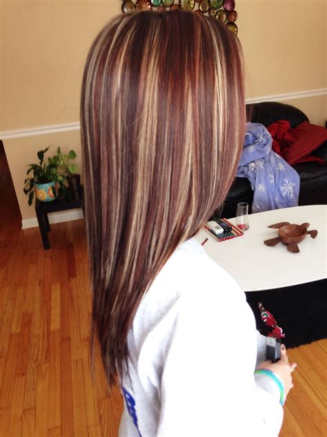 blonde highlights with mahogany low lights beautiful highlights lowlights red hair pinterest