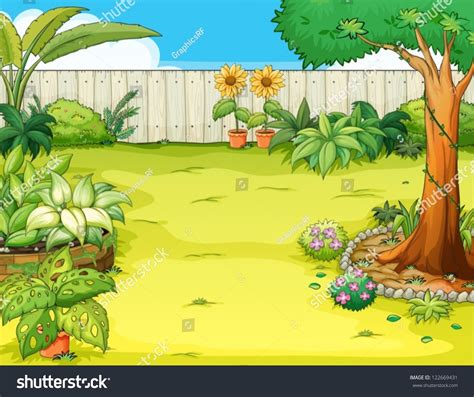 pictures of a garden illustration beautiful garden various plants stock vector