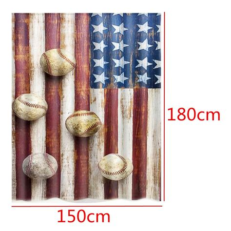 Baseball Bathroom Accessories 150x180cm American Flag Baseball Waterproof Shower Curtain Bathroom Decor With 12 Hooks At