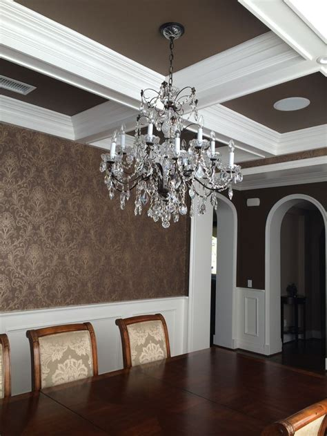 Dining room wallpaper wainscoting coffered ceiling