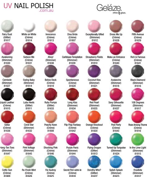 essie color chart china glaze nail color chart nails gallery