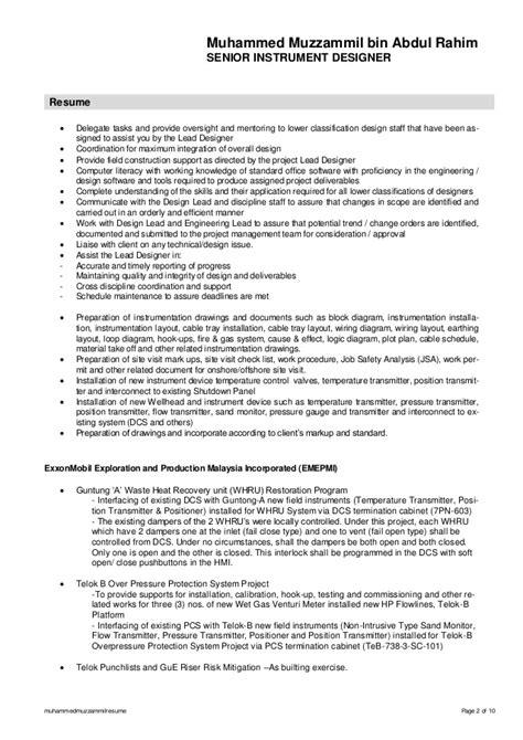 Instrumentation Designer Sle Resume by Muhammedmuzzammilresume