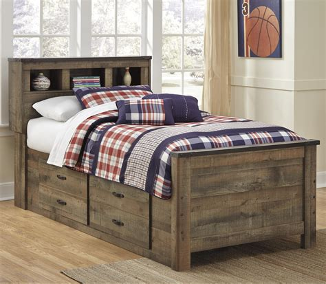 ashley signature design trinell rustic  twin bookcase bed   bed storage dunk