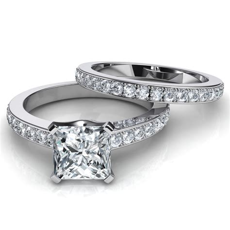 Engagement Rings With Wedding Bands by Novo Princess Cut Engagement Ring And Wedding Band Bridal Set