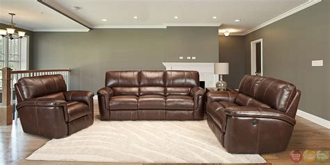 reclining leather sofa sets living hitchcock contemporary brown leather 3pc