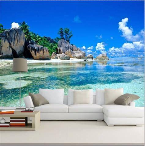 wallpaper mural beach stone sea view island wall paper
