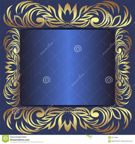 luxury blue frame decorated  royal borders stock vector