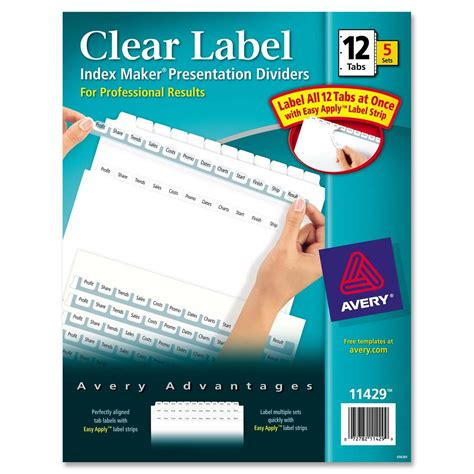 template for avery index maker clear label dividers avery index maker clear label divider ld products