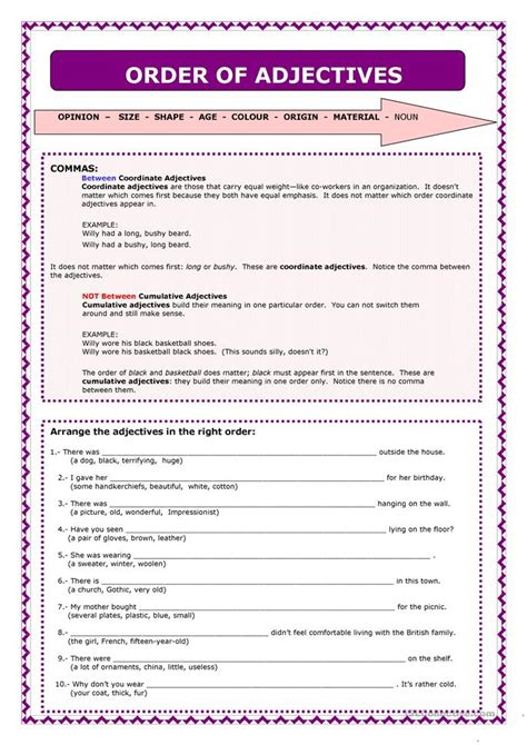 Order Of Adjectives Worksheet Pdf word order of adjectives worksheet free esl printable