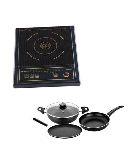 Induction Gas Cooktop Combo bajaj popular induction cooktop with 3pcs majesty duo cookware set combo price in india buy