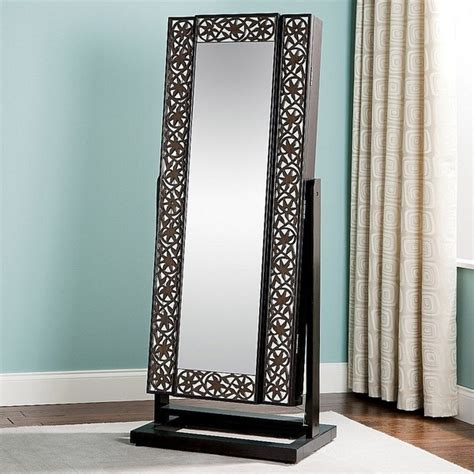 Jewlery Armoire Mirror by Jewelry Armoire Mirrored Lattice Front Interior Design
