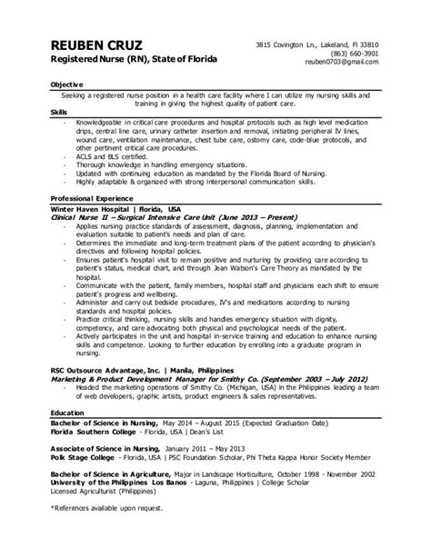 nursing resume sles 2015 reuben rn resume june2015
