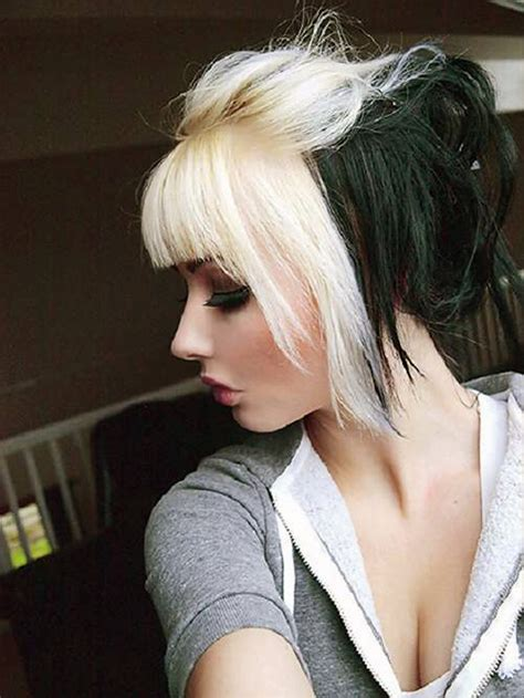 hairstyles blonde and black black hair with blonde bangs pictures inofashionstyle com