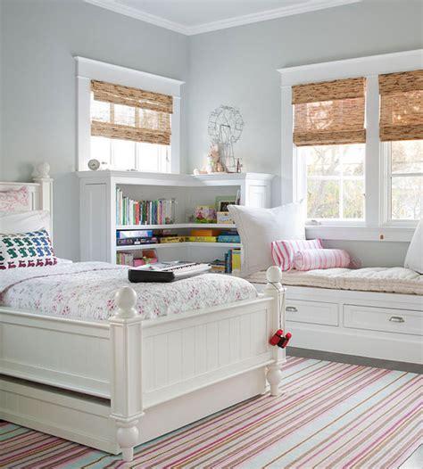 gray owl bedroom built in bookcases