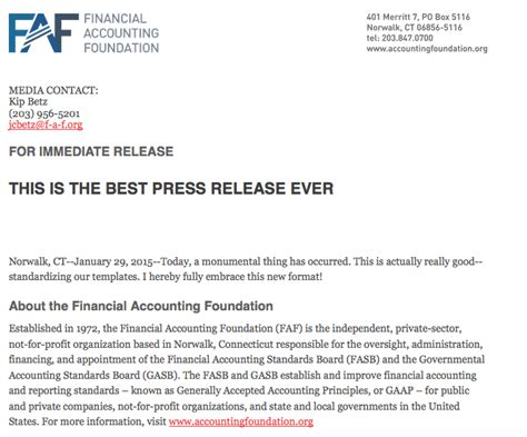 best press releases faf throws aside accounting standards to announce quot the