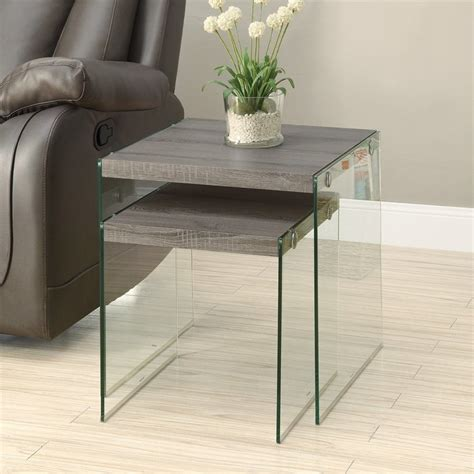 accent table set shop monarch specialties 2 piece dark taupe accent table