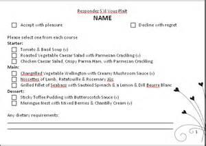 wedding menu choice template rsvp cards with a choice menu wedding planning