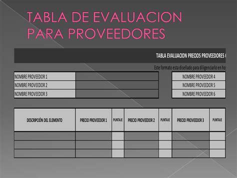 buscador de proveedores tabla de evaluacion para proveedores
