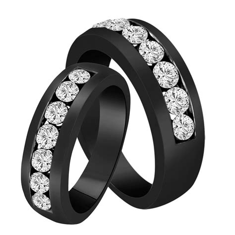 wedding bands diamond matching rings couple