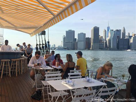 boat bar brooklyn bridge park climb aboard pilot the floating oyster bar in nyc s