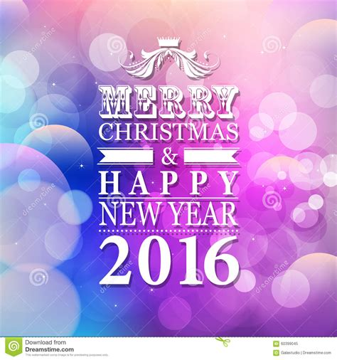 Merry Christmas And Happy New Year Gift Card - 2016 merry christmas and happy new year card or background with stock illustration