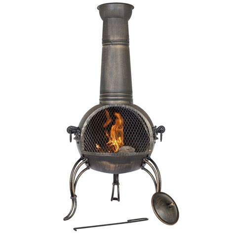 large chiminea outdoor fireplace la hacienda large steel chiminea bronze finish