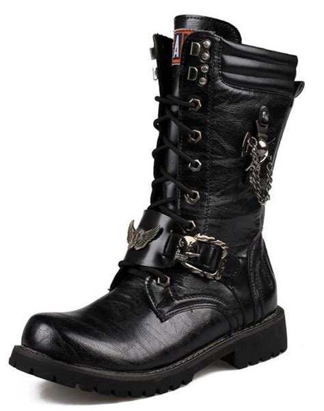 boots black color and steel toe front knee