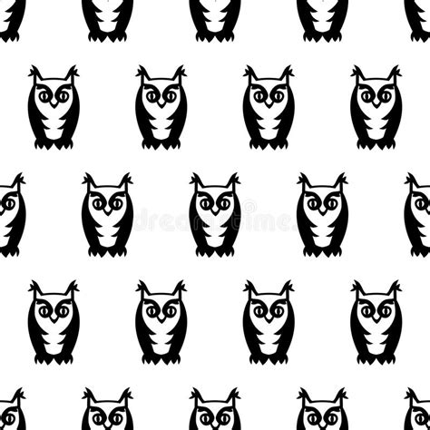 black and white bird pattern black and white seamless owl pattern cute cartoon owl