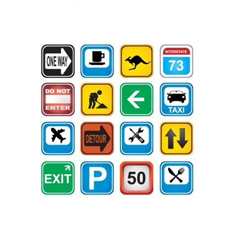coloured traffic signs icons collection vector free download