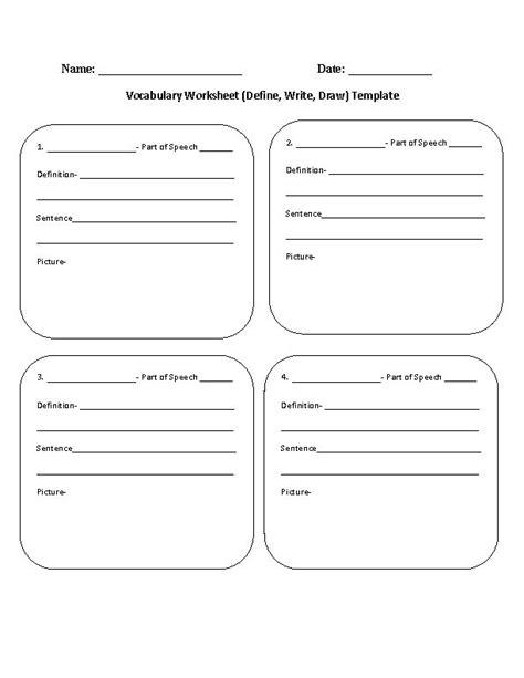 vocabulary worksheet define write draw template