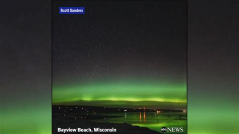 northern lights wisconsin tonight northern lights shimmering over wisconsin video abc news