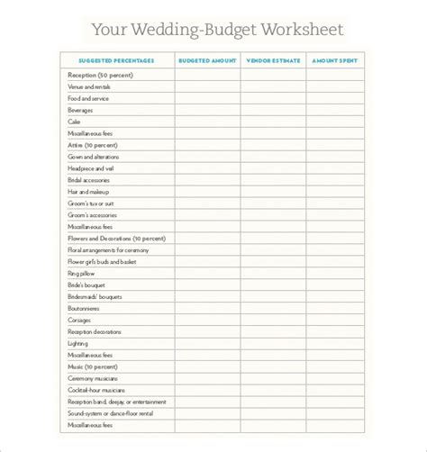 printable wedding budget template wedding budget worksheet printable worksheets