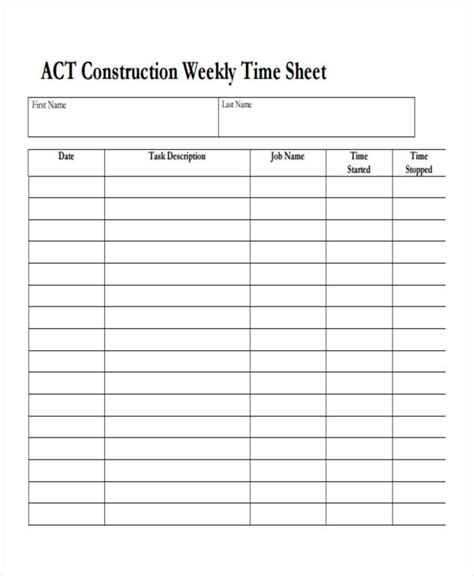 34 Free Timesheet Templates Free Premium Templates Sheets Construction Template
