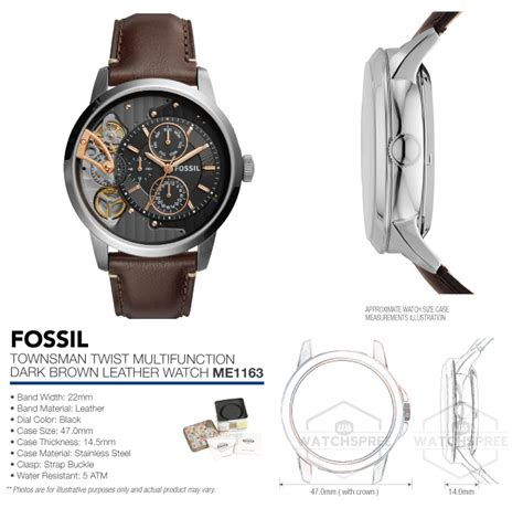 Fossil Townsman Me1163 Original Fossil Townsman Twist Multifunction Brown Leather