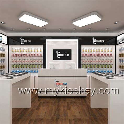 mobile shop simple white mobile phone shop counter interior design