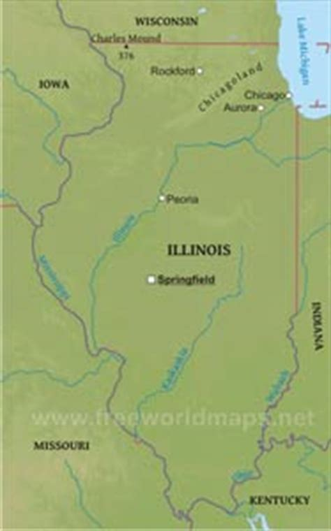illinois physical map where is illinois located on the map
