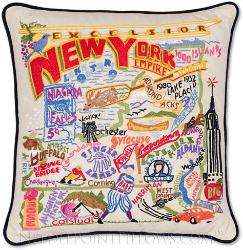 New York Embroidered Pillow by Catstudio Handmade New York State Embroidered Pillow