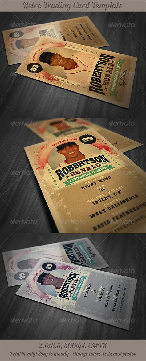 vintage trading card template retro trading card template graphicriver