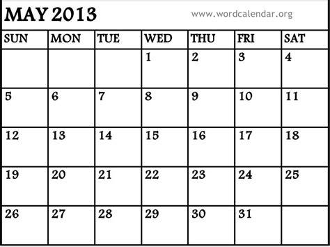 Calendar May 2013 7 Best Images Of May 2013 Calendar Printable Template