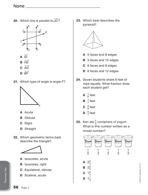 Envision Math 4th Grade Worksheets by Envision Math 2nd Grade Placement Test Envision Math