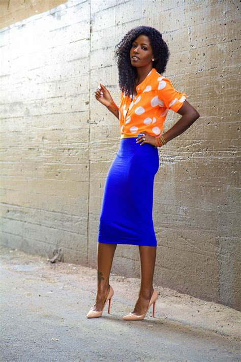 style pantry orange polka dot shirt blue pencil skirt