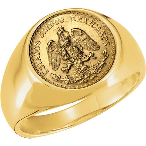 14k gold mens coin ring with a mexico gold 2 pesos