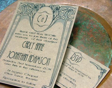 art deco wedding invitations art nouveau wedding