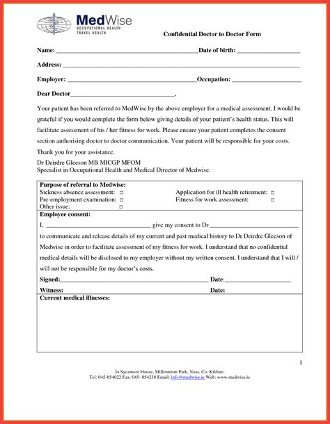 doctors note template for work blank doctors note template memo exle