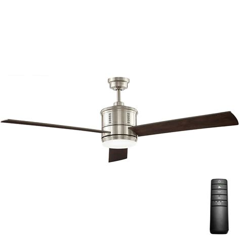escape ii 60 in led brushed nickel ceiling fan hunter channing in led indoor brushed nickel ceiling fan