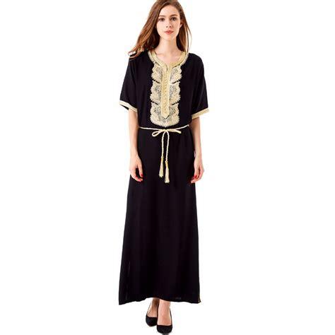Dress Wanita Maxi Dress Muslim 1 bohemian maxi dress casual dress moroccan kaftan islamic abaya muslim robe embroidery