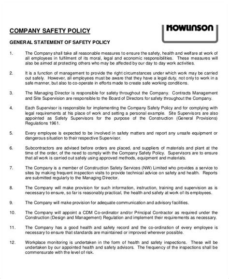 company health and safety policy template company policy template 9 free pdf documents
